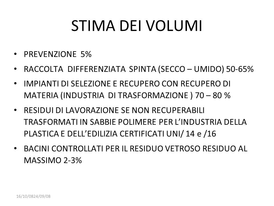 STIMA DEI VOLUMI PREVENZIONE 5%