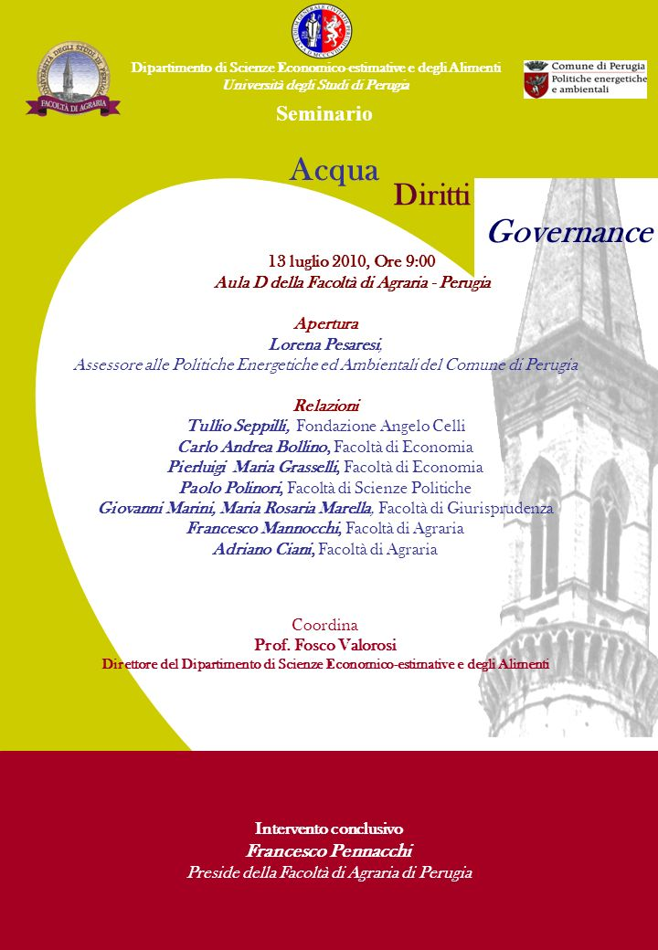 Acqua Governance Diritti Seminario Francesco Pennacchi