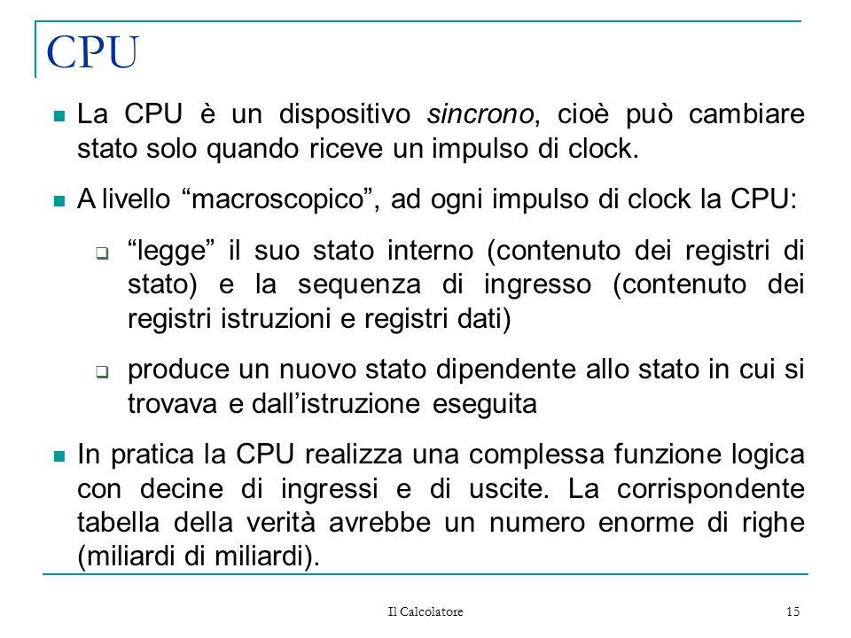 CPU La CPU è un dispositivo sincrono, cioè può cambiare stato solo quando riceve un impulso di clock.