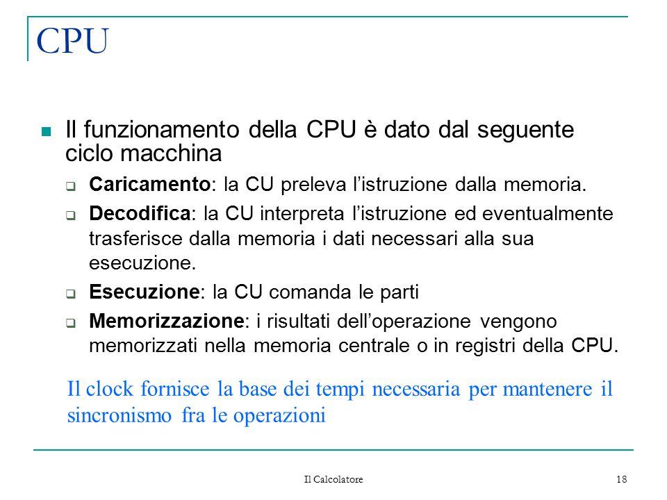 CPU Il funzionamento della CPU è dato dal seguente ciclo macchina
