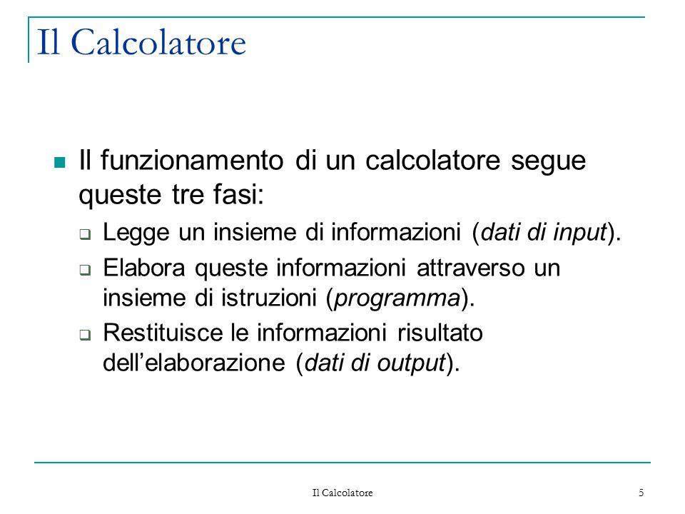 Il Calcolatore Il funzionamento di un calcolatore segue queste tre fasi: Legge un insieme di informazioni (dati di input).