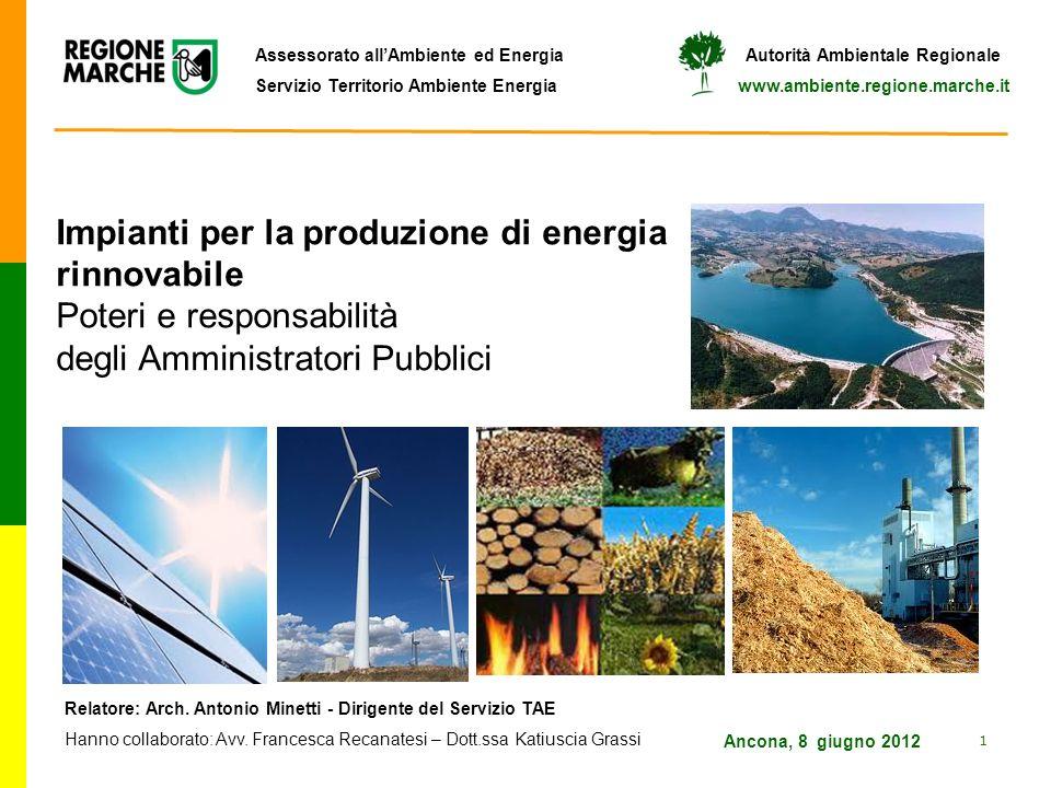 Impianti per la produzione di energia rinnovabile Poteri e responsabilità degli Amministratori Pubblici