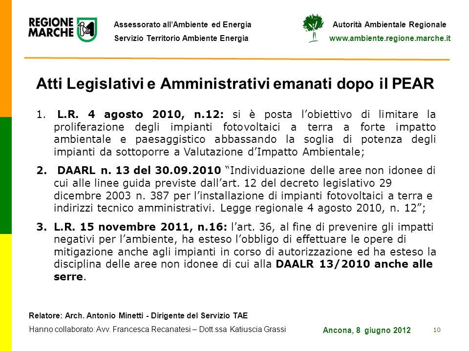 Atti Legislativi e Amministrativi emanati dopo il PEAR