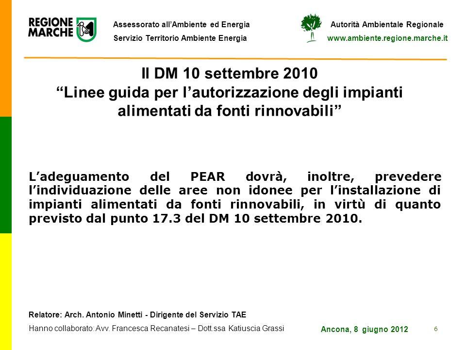 Il DM 10 settembre 2010 Linee guida per l'autorizzazione degli impianti alimentati da fonti rinnovabili