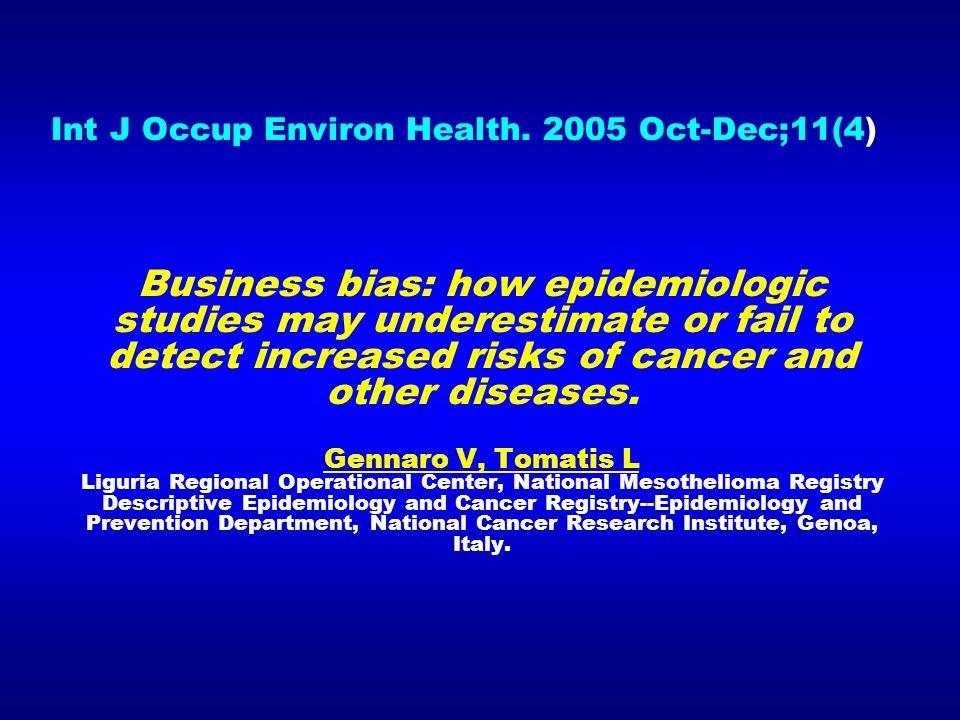 Int J Occup Environ Health. 2005 Oct-Dec;11(4)