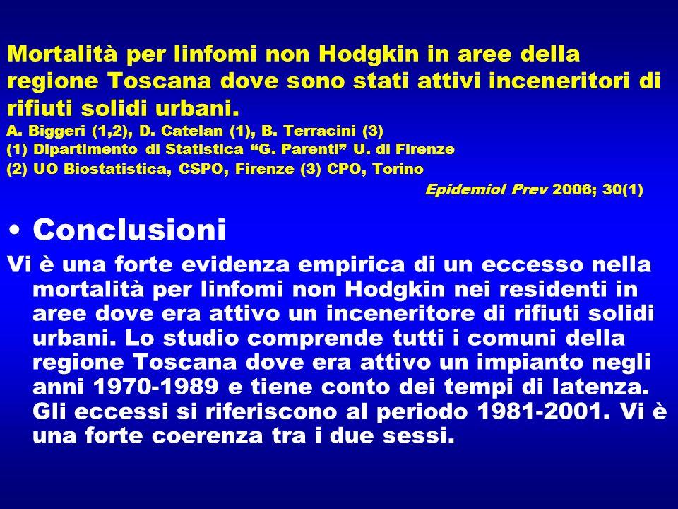 Mortalità per linfomi non Hodgkin in aree della regione Toscana dove sono stati attivi inceneritori di rifiuti solidi urbani. A. Biggeri (1,2), D. Catelan (1), B. Terracini (3) (1) Dipartimento di Statistica G. Parenti U. di Firenze (2) UO Biostatistica, CSPO, Firenze (3) CPO, Torino Epidemiol Prev 2006; 30(1)
