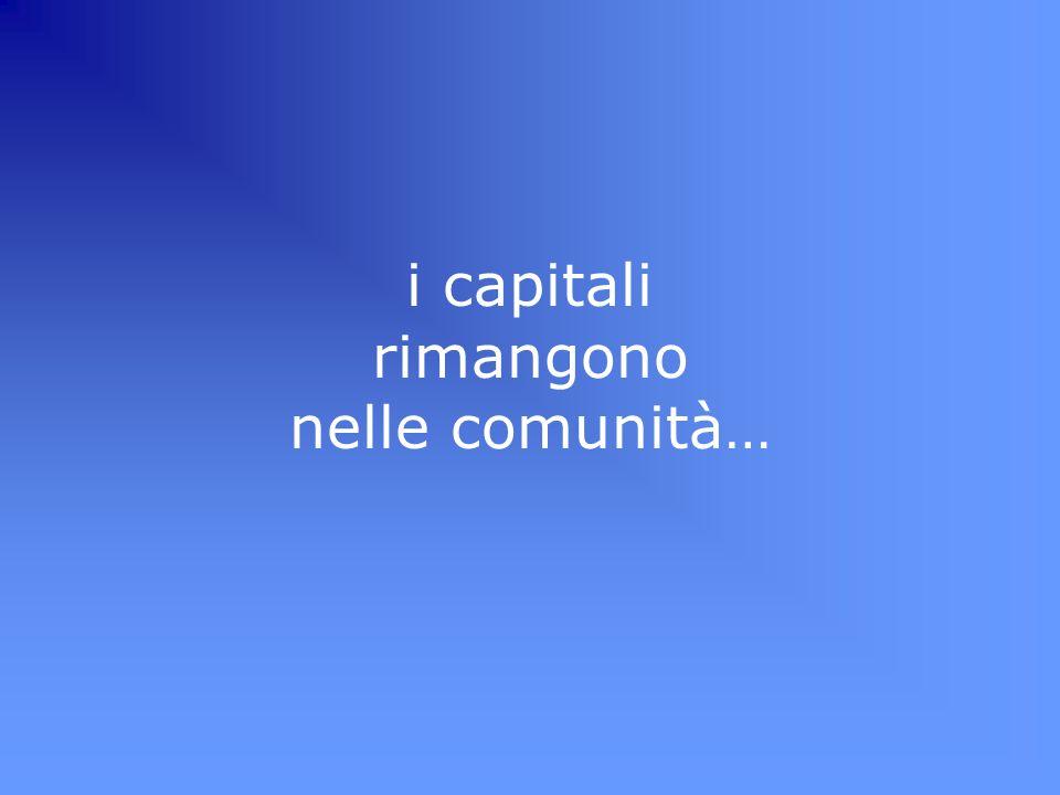 i capitali rimangono nelle comunità…