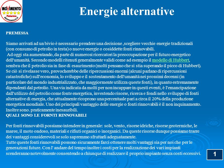 Energie alternative PREMESSA.