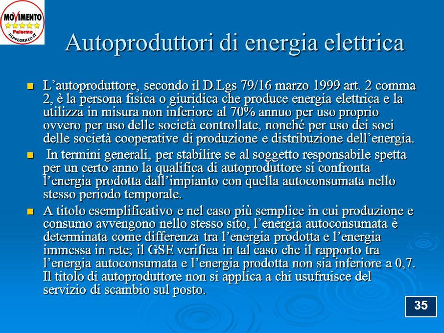 Autoproduttori di energia elettrica