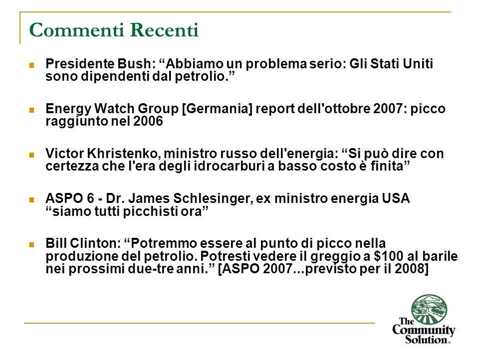 Commenti Recenti Presidente Bush: Abbiamo un problema serio: Gli Stati Uniti sono dipendenti dal petrolio.