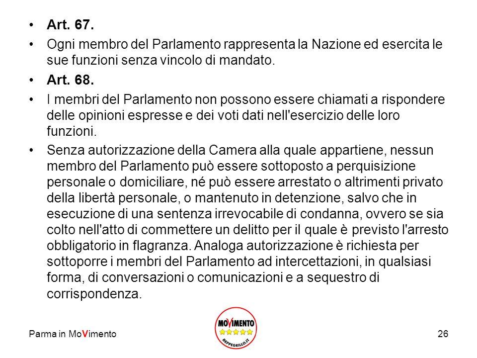 Art. 67. Ogni membro del Parlamento rappresenta la Nazione ed esercita le sue funzioni senza vincolo di mandato.