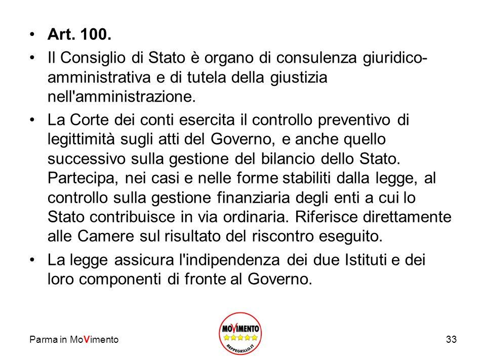 Art. 100. Il Consiglio di Stato è organo di consulenza giuridico-amministrativa e di tutela della giustizia nell amministrazione.