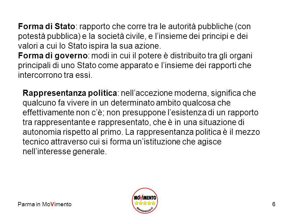 Forma di Stato: rapporto che corre tra le autorità pubbliche (con potestà pubblica) e la società civile, e l'insieme dei principi e dei valori a cui lo Stato ispira la sua azione.