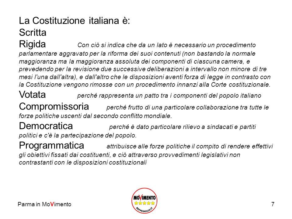 La Costituzione italiana è: Scritta