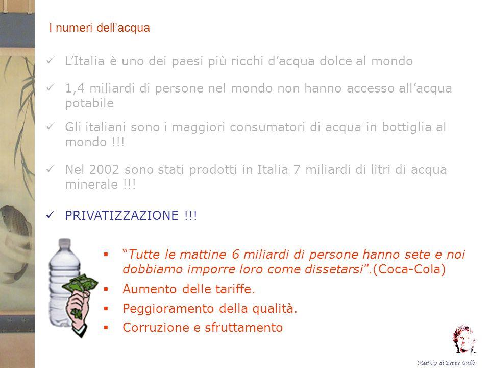 I numeri dell'acqua L'Italia è uno dei paesi più ricchi d'acqua dolce al mondo.