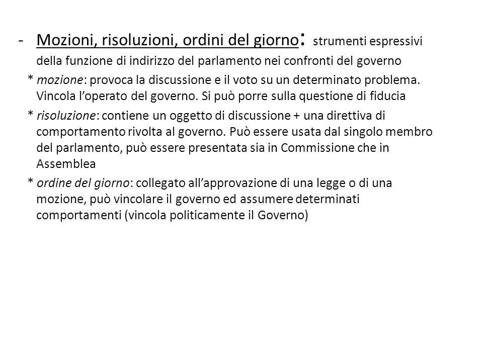 Mozioni, risoluzioni, ordini del giorno: strumenti espressivi della funzione di indirizzo del parlamento nei confronti del governo