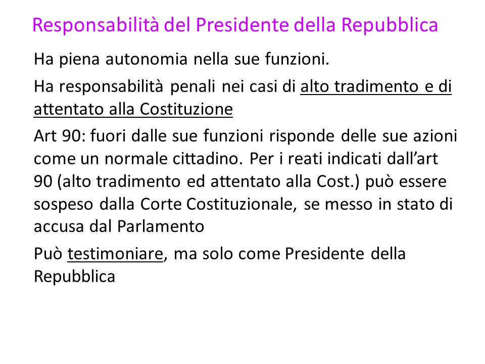 Responsabilità del Presidente della Repubblica
