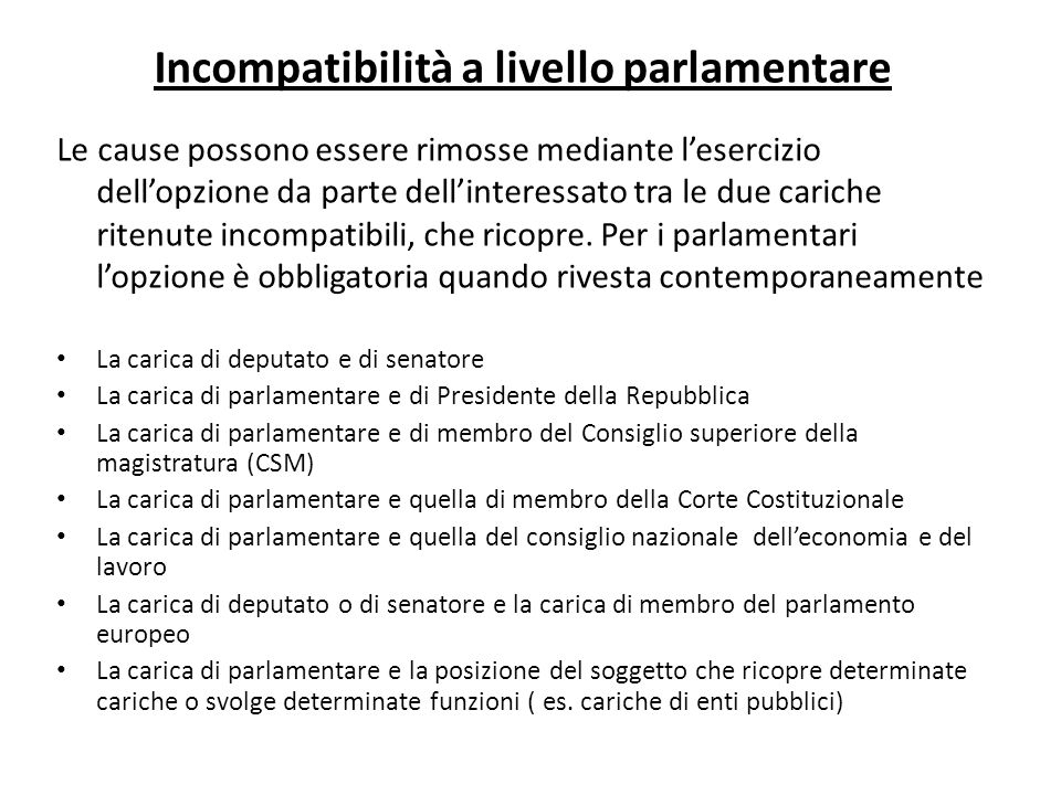 Incompatibilità a livello parlamentare