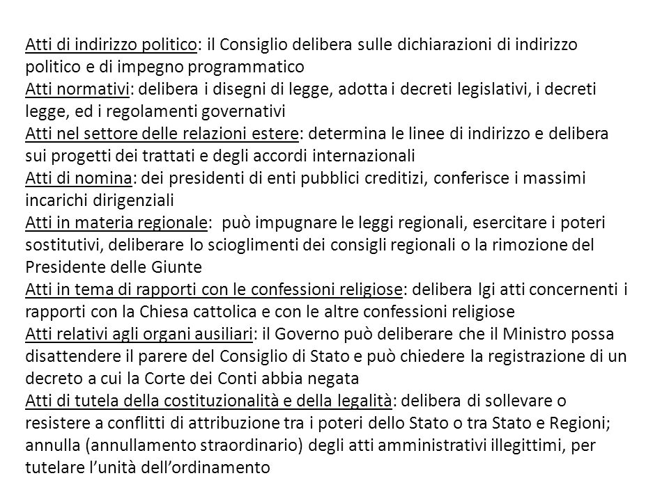 Atti di indirizzo politico: il Consiglio delibera sulle dichiarazioni di indirizzo politico e di impegno programmatico