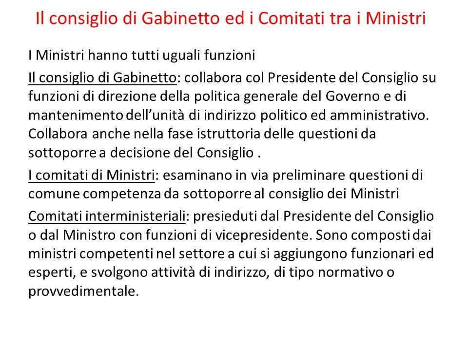 Il consiglio di Gabinetto ed i Comitati tra i Ministri
