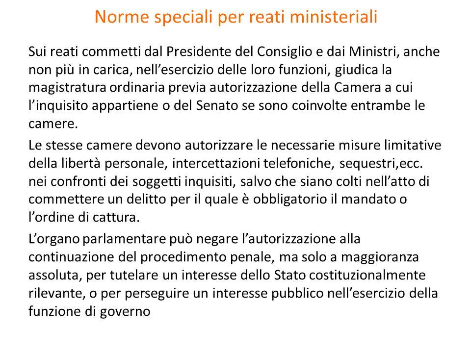 Norme speciali per reati ministeriali