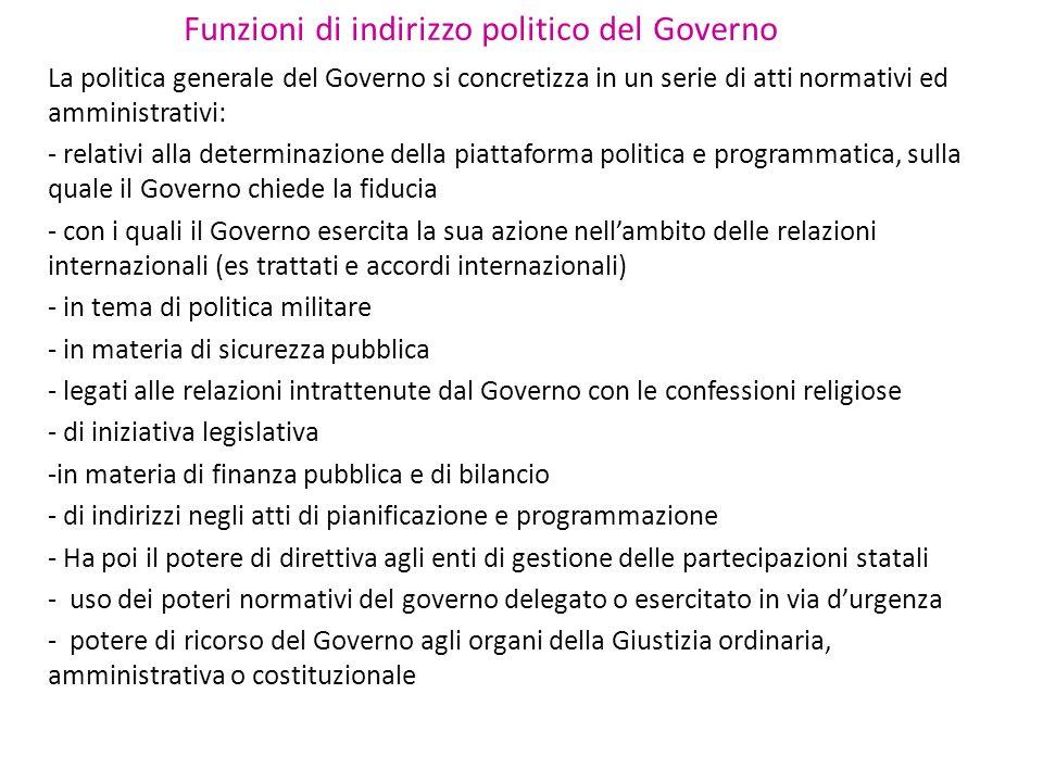 Funzioni di indirizzo politico del Governo