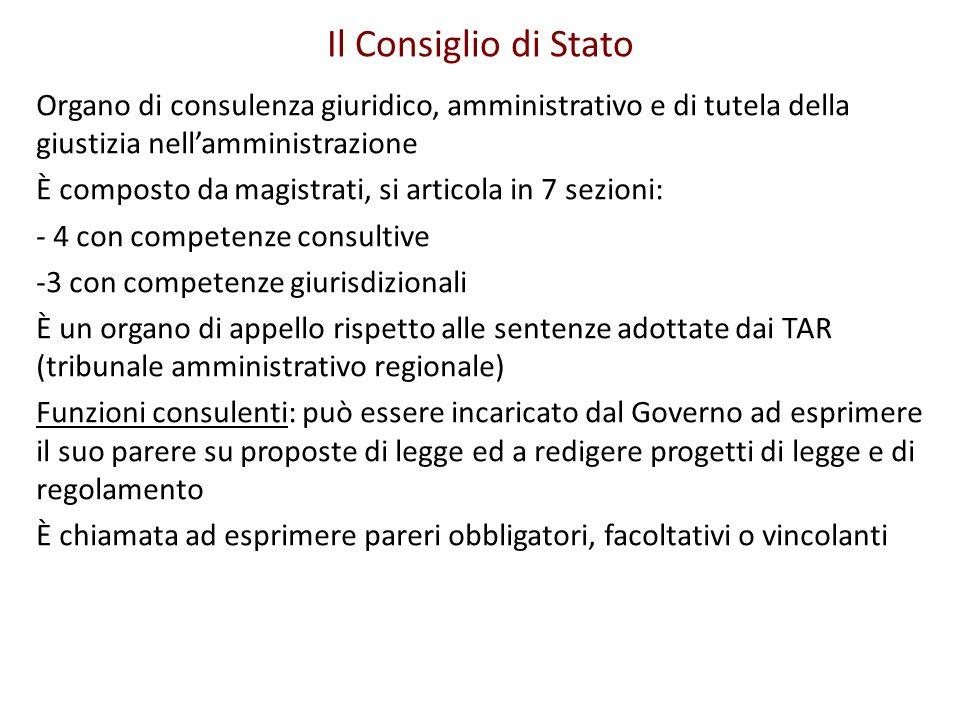 Il Consiglio di Stato Organo di consulenza giuridico, amministrativo e di tutela della giustizia nell'amministrazione.