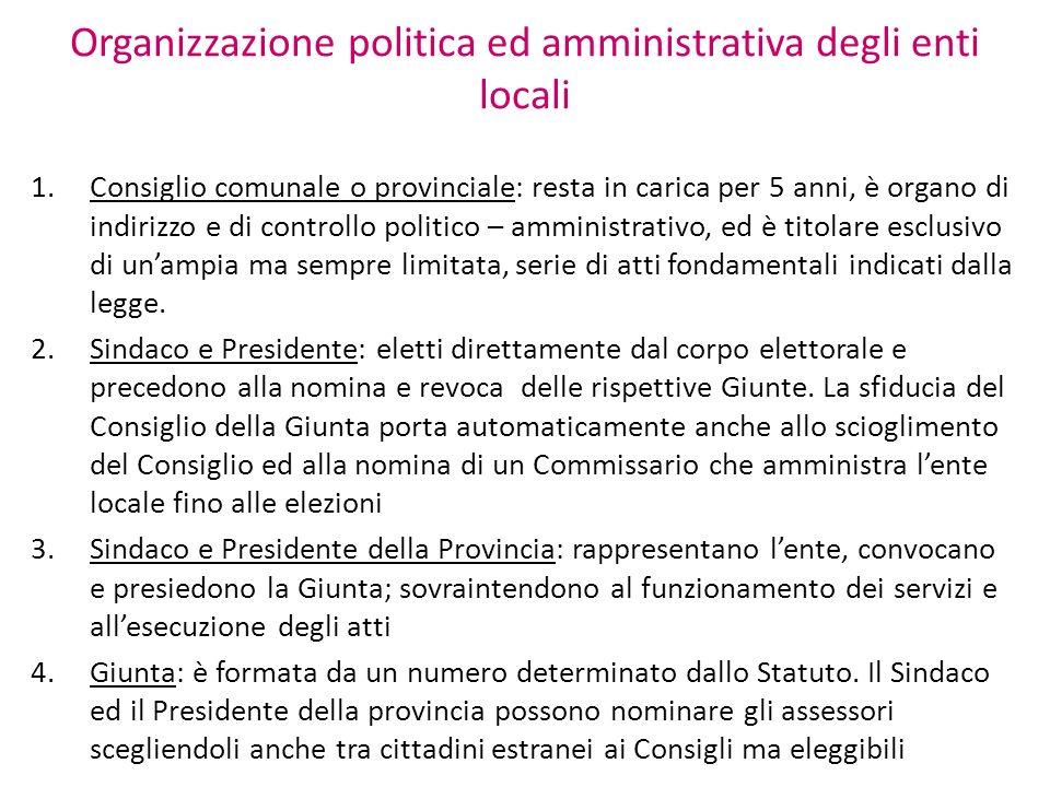 Organizzazione politica ed amministrativa degli enti locali