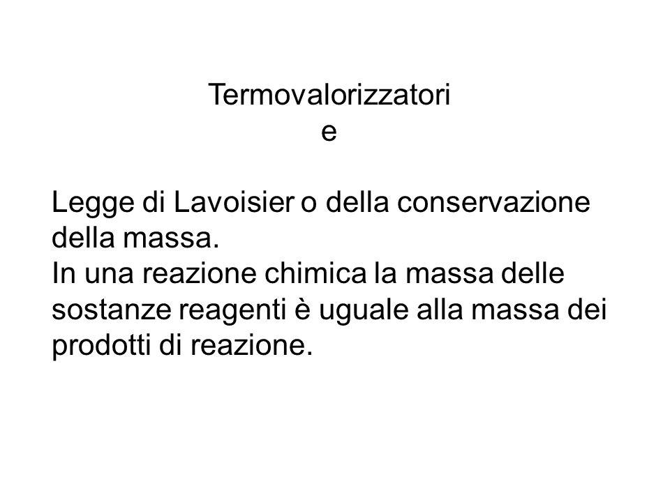 Termovalorizzatori e. Legge di Lavoisier o della conservazione della massa.
