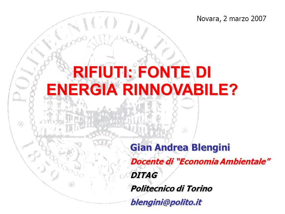 RIFIUTI: FONTE DI ENERGIA RINNOVABILE