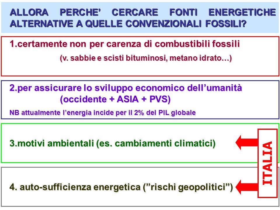 ALLORA PERCHE' CERCARE FONTI ENERGETICHE ALTERNATIVE A QUELLE CONVENZIONALI FOSSILI