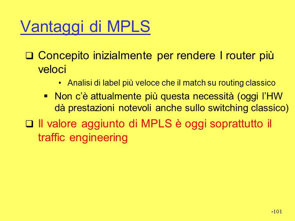Vantaggi di MPLS Concepito inizialmente per rendere I router più veloci. Analisi di label più veloce che il match su routing classico.