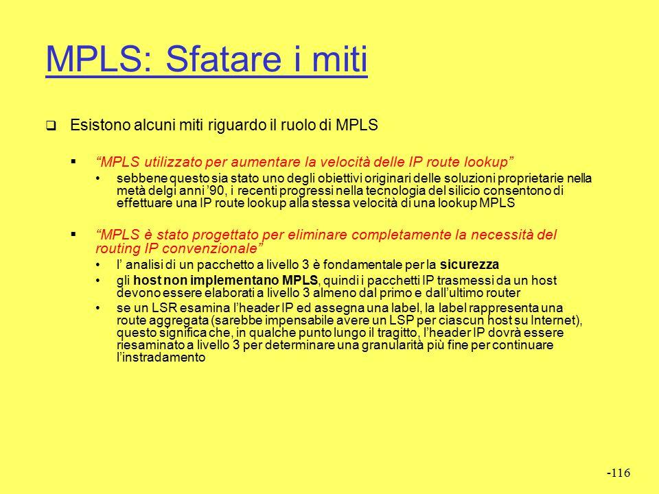 MPLS: Sfatare i miti Esistono alcuni miti riguardo il ruolo di MPLS