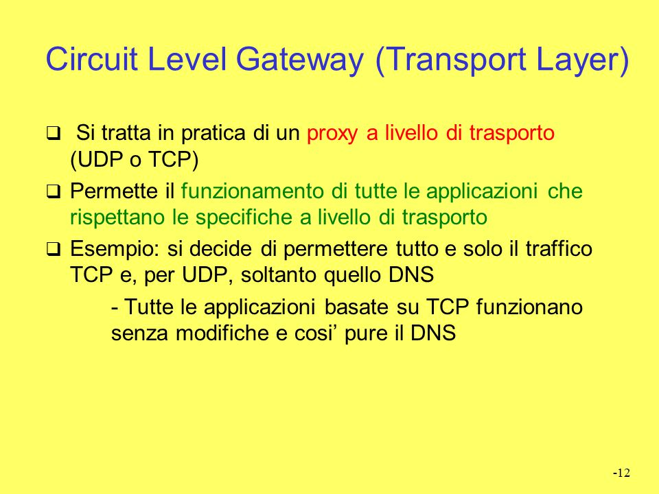Circuit Level Gateway (Transport Layer)