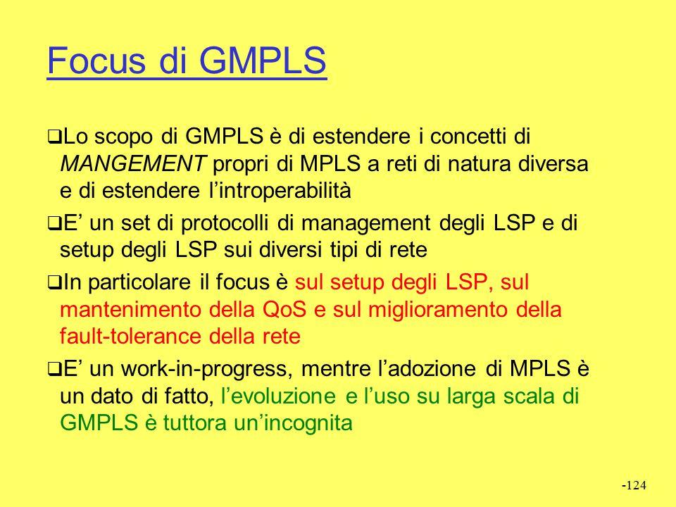 Focus di GMPLS Lo scopo di GMPLS è di estendere i concetti di MANGEMENT propri di MPLS a reti di natura diversa e di estendere l'introperabilità.