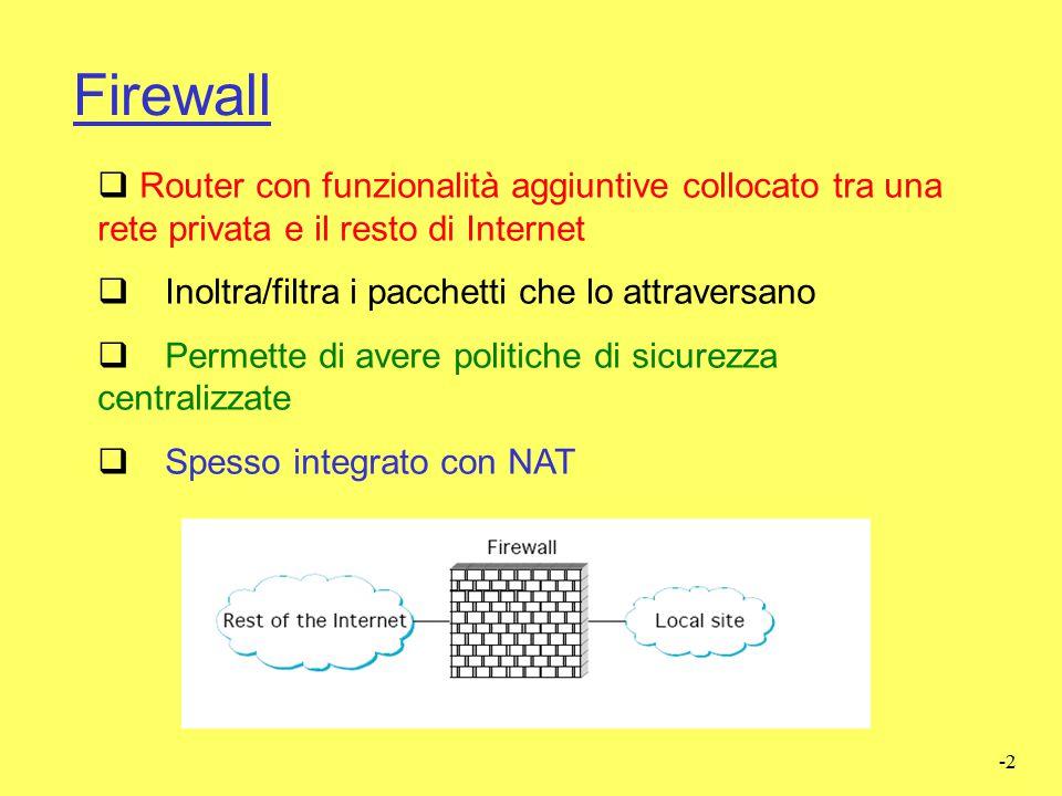 Firewall Router con funzionalità aggiuntive collocato tra una rete privata e il resto di Internet. Inoltra/filtra i pacchetti che lo attraversano.