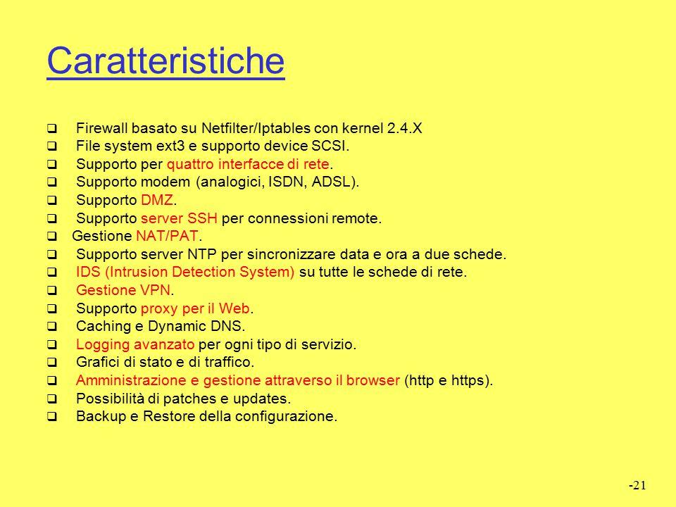 Caratteristiche Firewall basato su Netfilter/Iptables con kernel 2.4.X