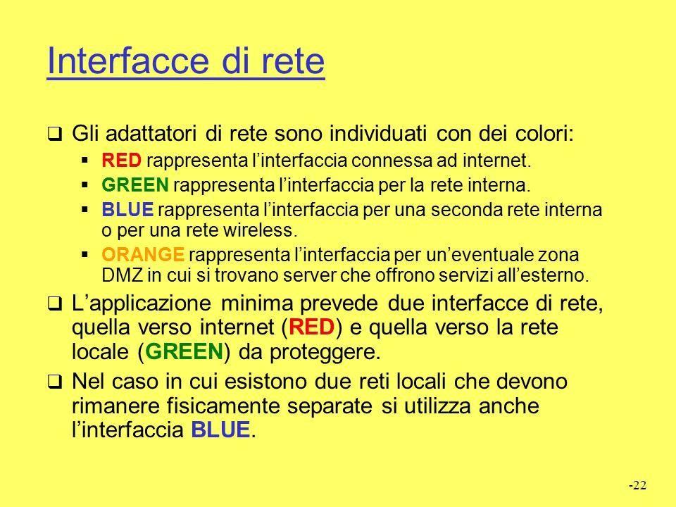 Interfacce di rete Gli adattatori di rete sono individuati con dei colori: RED rappresenta l'interfaccia connessa ad internet.