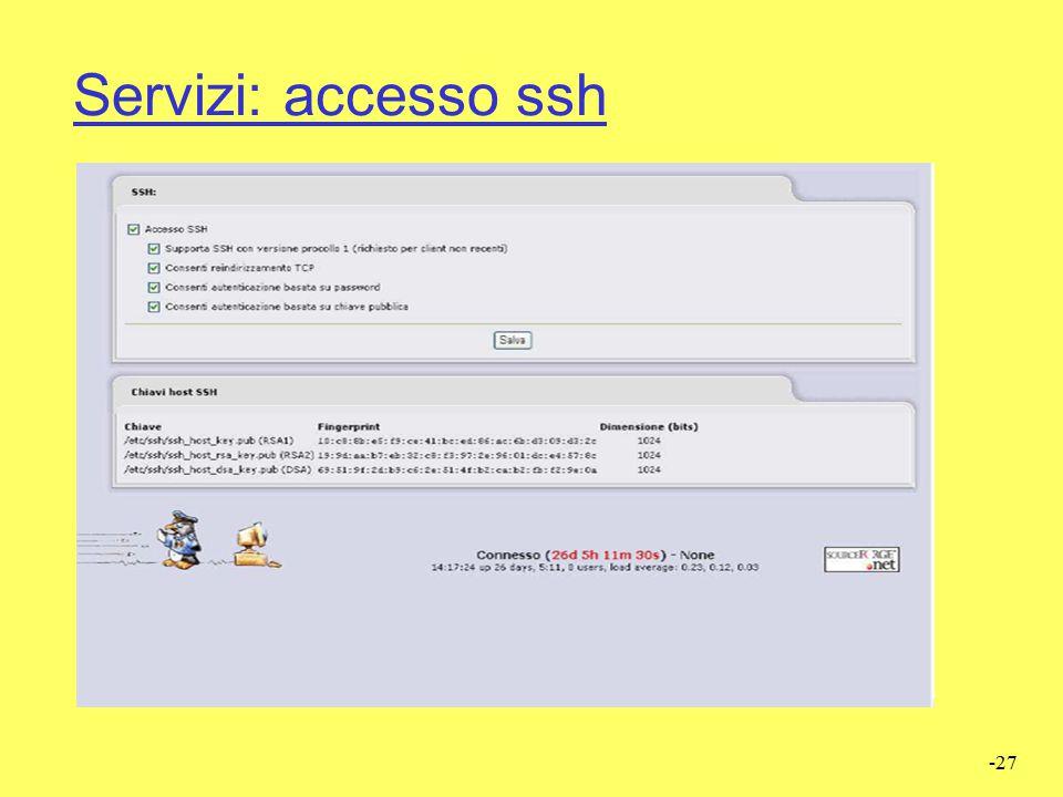 Servizi: accesso ssh