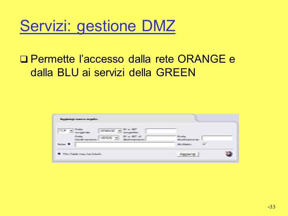 Servizi: gestione DMZ Permette l'accesso dalla rete ORANGE e dalla BLU ai servizi della GREEN