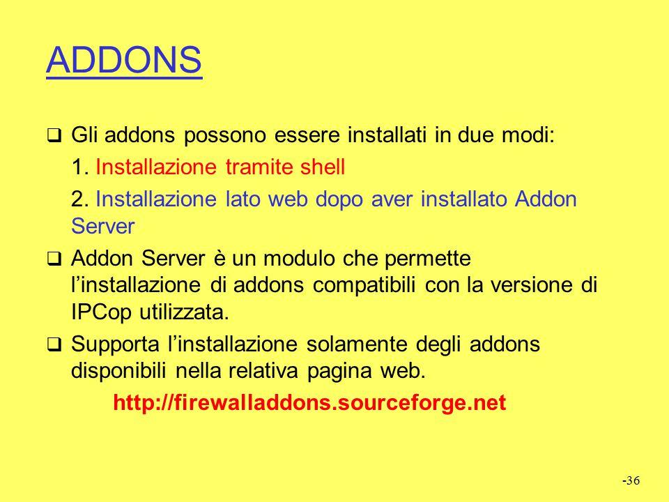 ADDONS Gli addons possono essere installati in due modi: