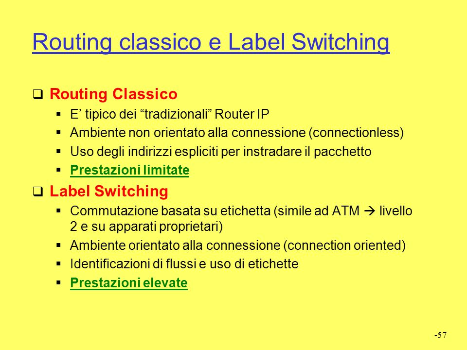 Routing classico e Label Switching