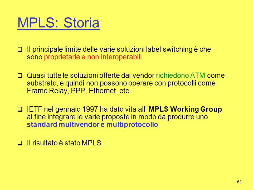 MPLS: Storia Il principale limite delle varie soluzioni label switching è che sono proprietarie e non interoperabili.