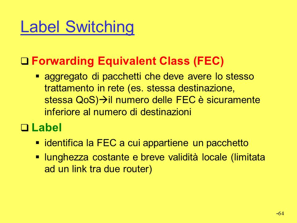 Label Switching Forwarding Equivalent Class (FEC) Label
