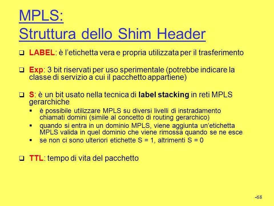 MPLS: Struttura dello Shim Header