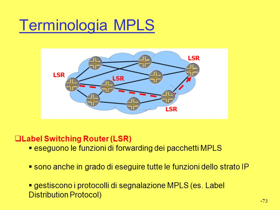 Terminologia MPLS Label Switching Router (LSR)
