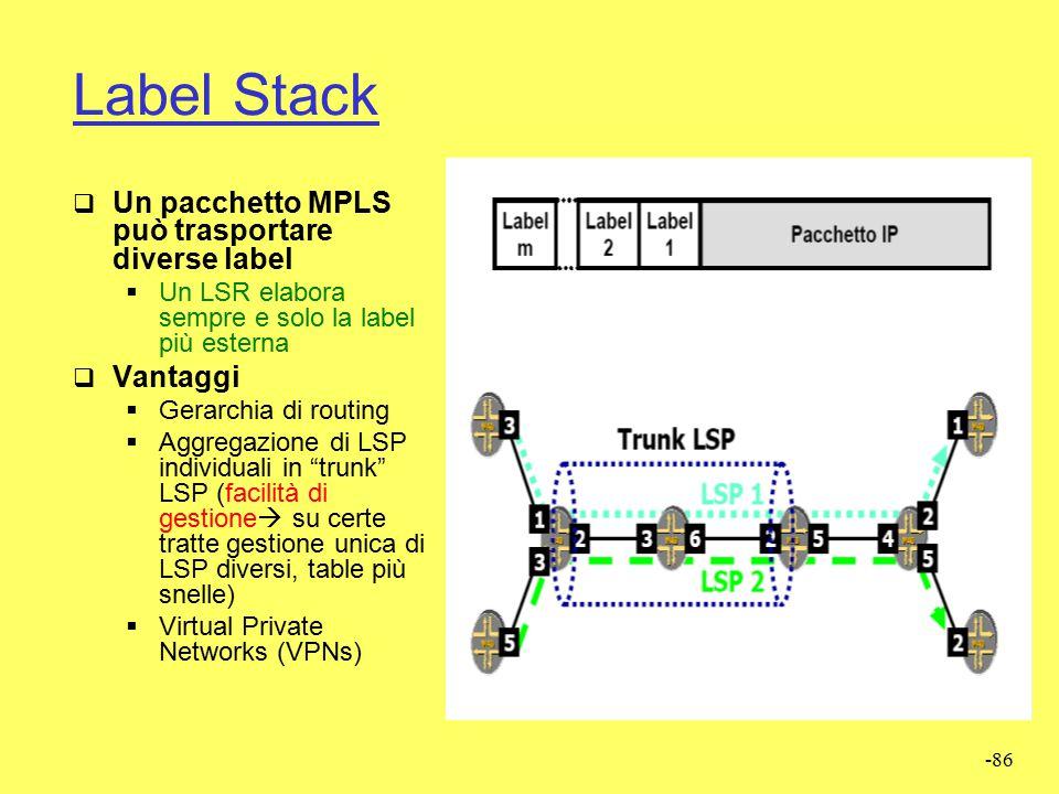 Label Stack Un pacchetto MPLS può trasportare diverse label Vantaggi
