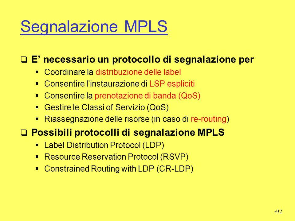Segnalazione MPLS E' necessario un protocollo di segnalazione per