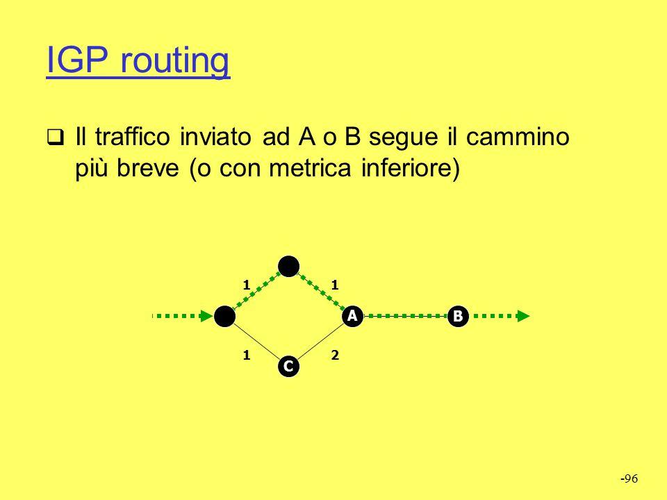 IGP routing Il traffico inviato ad A o B segue il cammino più breve (o con metrica inferiore) 1. 1.