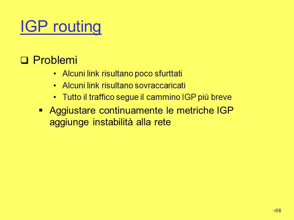 IGP routing Problemi. Alcuni link risultano poco sfurttati. Alcuni link risultano sovraccaricati.